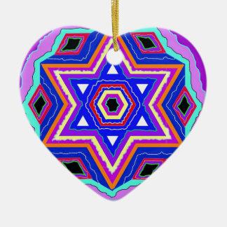 Jewish Star of David Ceramic Heart Ornament