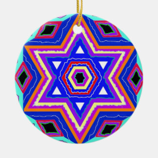 Jewish Star of David Round Ceramic Ornament