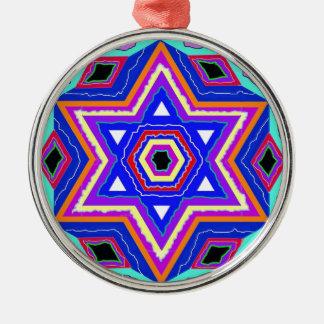 Jewish Star of David Silver-Colored Round Ornament