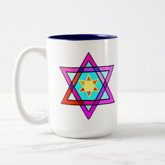 Jewish Star of Life Two-Tone Coffee Mug