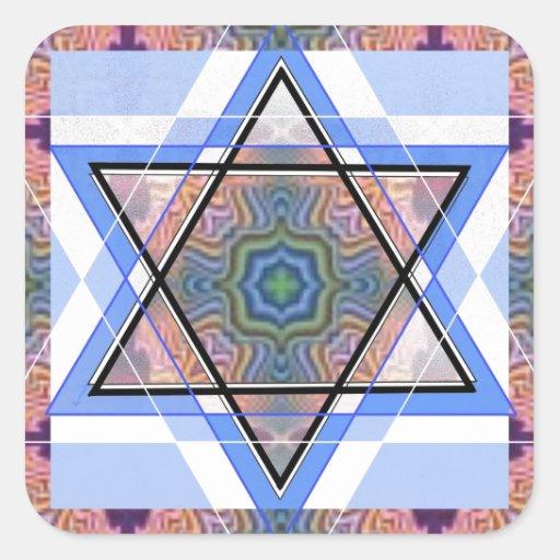Jewish Star on moire. Square Sticker