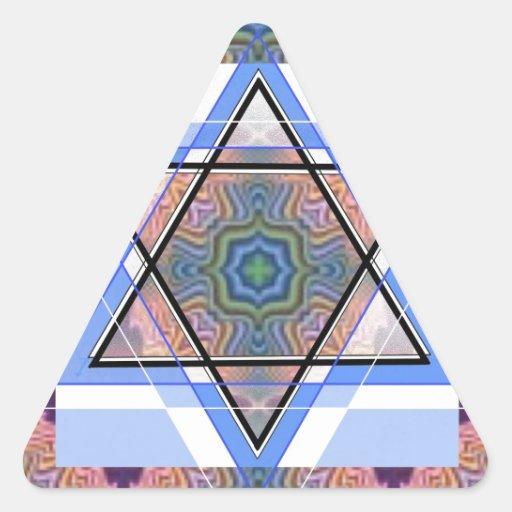 Jewish Star on moire. Triangle Sticker