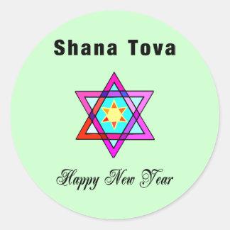 Jewish Star Shana Tova Classic Round Sticker