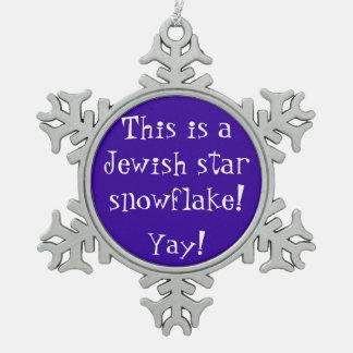 Jewish Star Snowflake Pewter Snowflake Ornament