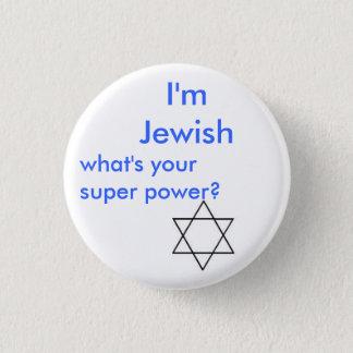 Jewish super power 1 inch round button
