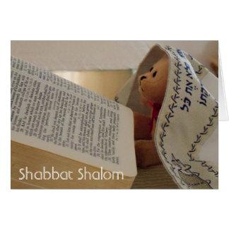 Jewish Teddy Bear tallit Shabbat Shalom note card