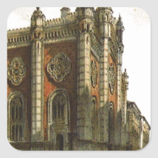 Jewish temple in the city Leopold by Rudolf vonAlt Square Sticker