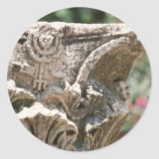 Jewish Temple Ruin With Manorah Detail flower Classic Round Sticker