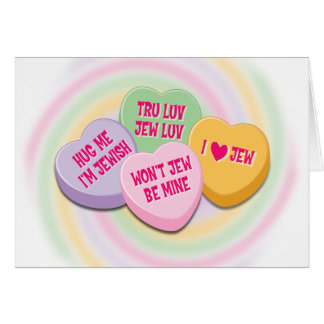 Jewish Valentine's Card: Candy Hearts Greeting Card