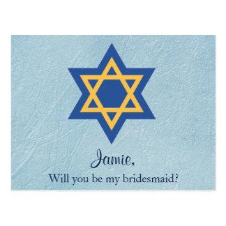 Jewish Will You be My Bridesmaid Star of David Postcard