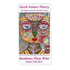 Jewish Wine Label Owl Drinking Red Wine