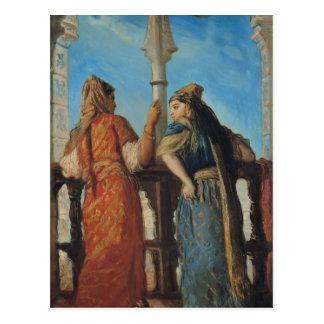 Jewish Women at the Balcony, Algiers, 1849 Postcard