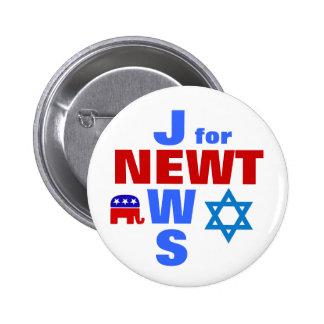 Jews for Newt 2 Inch Round Button