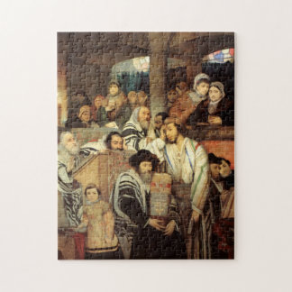 Jews Praying by Maurycy Goettlieb - Circa 1878 Jigsaw Puzzle