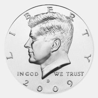 JFK Half Dollar (pack of 6/20) Round Sticker