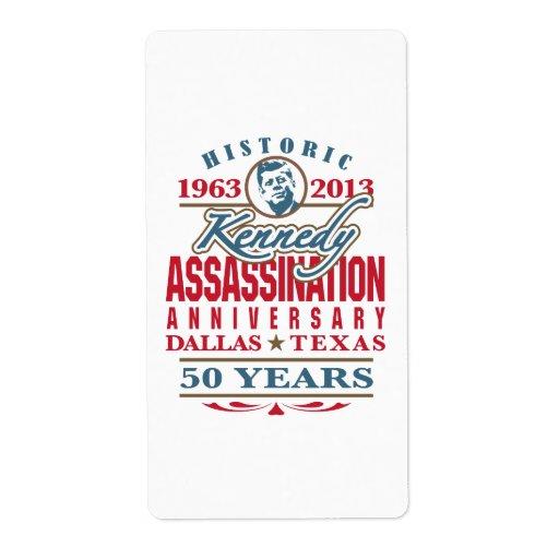 JFK Kennedy Assassination Anniversary 1963 - 2013 Labels