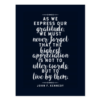 JFK 'Live by your words' Inspirational Quote Postcard