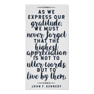 JFK 'Live by your words' Inspirational Quote Poster