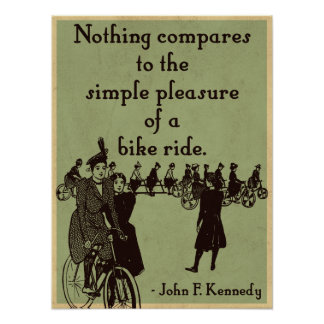 JFK on Cycling quote Poster