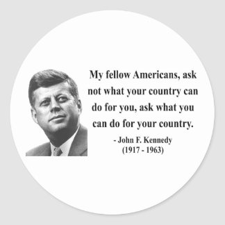 JFK Quote 3b Round Sticker
