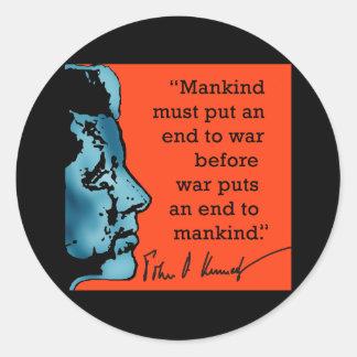 JFK Quote About War Round Sticker