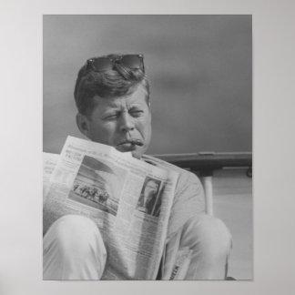 JFK Relaxing Outside Poster