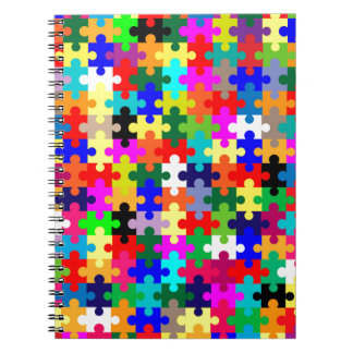 Jigsaw Pieces In Colour Spiral Note Book