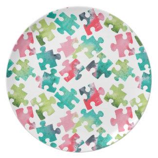 Jigsaw Puzzel Watercolour Pattern Plate