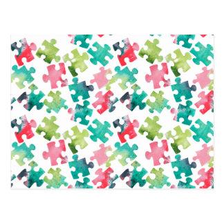 Jigsaw Puzzel Watercolour Pattern Postcard