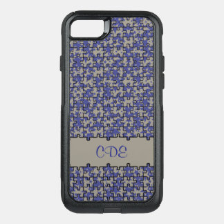Jigsaw puzzle pattern monogram or name OtterBox commuter iPhone 8/7 case