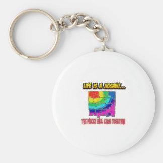 jigsaw shirt basic round button keychain