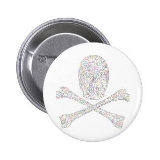 Jigsaw Skull & Crossbones - Color 2 Inch Round Button