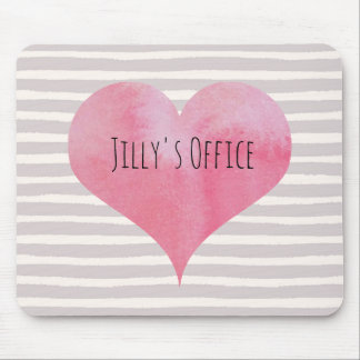 Jilly's PInk Watercolor Heart Mouse Pad