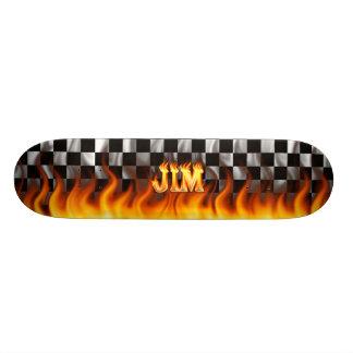 Jim skateboard fire and flames design