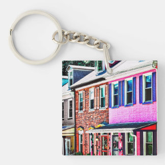 Jim Thorpe Pa - Colorful Street Double-Sided Square Acrylic Keychain