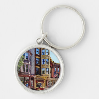 Jim Thorpe Pa - Shops Along Broadway Silver-Colored Round Keychain