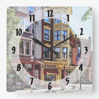 Jim Thorpe Pa - Shops Along Broadway Square Wall Clock