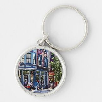 Jim Thorpe Pa - Window Shopping Silver-Colored Round Keychain