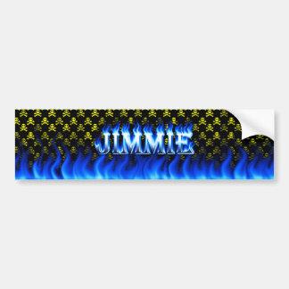 Jimmie blue fire and flames bumper sticker design