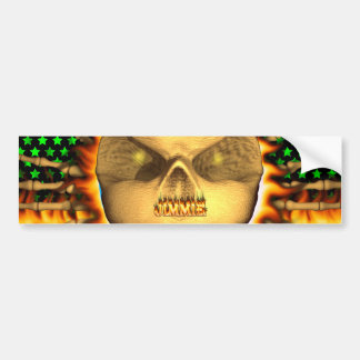 Jimmie skull real fire and flames bumper sticker d