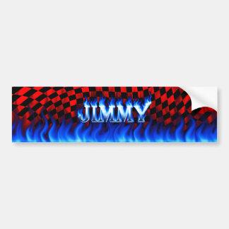 Jimmy blue fire and flames bumper sticker design.