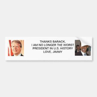 Jimmy Carter Barack Obama Thanks Bumper Sticker