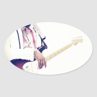 Jimmy Electric Guitar Tee Oval Sticker