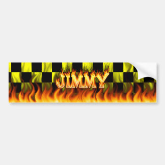 Jimmy real fire and flames bumper sticker design.