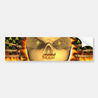 Jimmy skull real fire and flames bumper sticker de