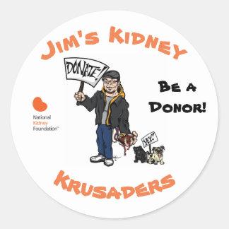 Jim's Kidney Krusaders Sticker. Classic Round Sticker