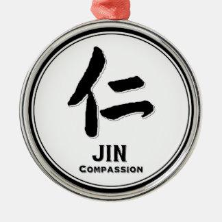 JIN compassion bushido virtue samurai kanji Silver-Colored Round Ornament