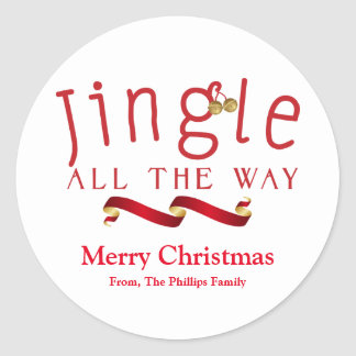 JINGLE ALL THE WAY Christmas Holiday Bell Sticker