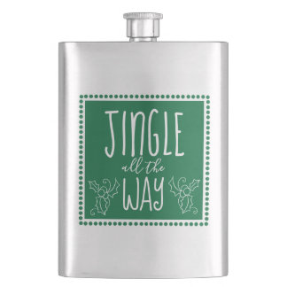 Jingle all the Way Graphic Flask, Green Hip Flask