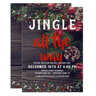 Jingle All the Way Rustic Holiday Party Invitation